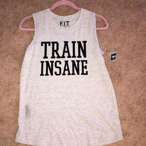"""Gray muscle tank top w/ the quote """"train insane"""""""